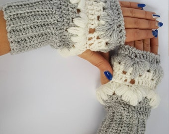 Fall fashion gloves, fingerless gloves mittens,knitted gloves,winter gloves, hand-knit gloves,handmade, gray and white