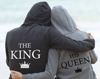 9cca68c5f1 King Queen hoodie set Gift for couple