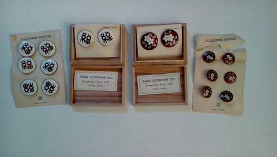 Cloisonne earrings and buttons