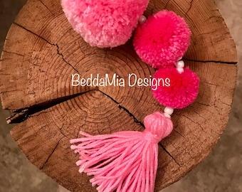 Pink Handbag Pom Pom Tassel Keychain Pompom Purse Charm Boho doorknob hanger Pompom Key FOB