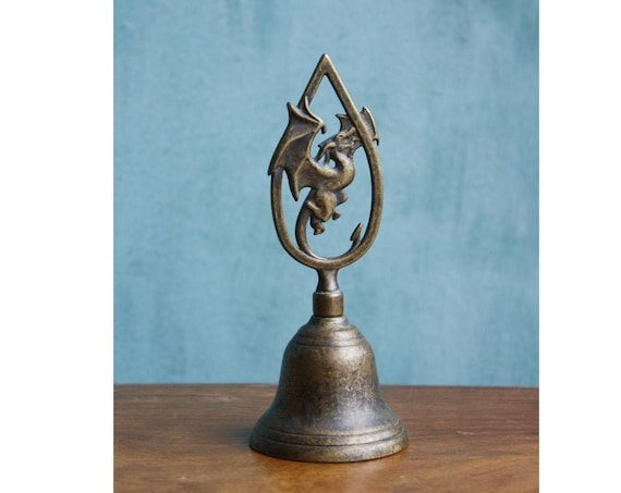 Bronze hand bell with a little dragon figure