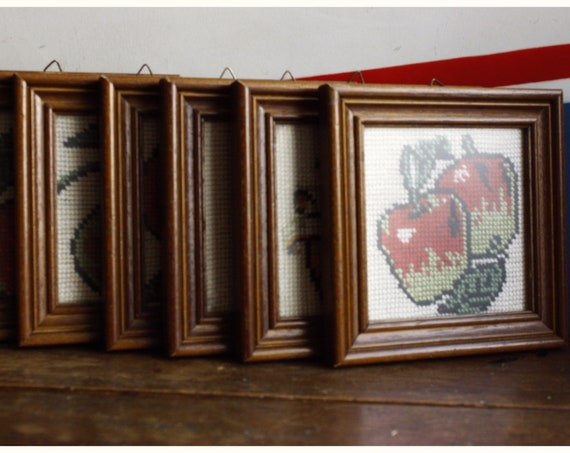 Set Of Six Vintage Fruits Embroiders Framed