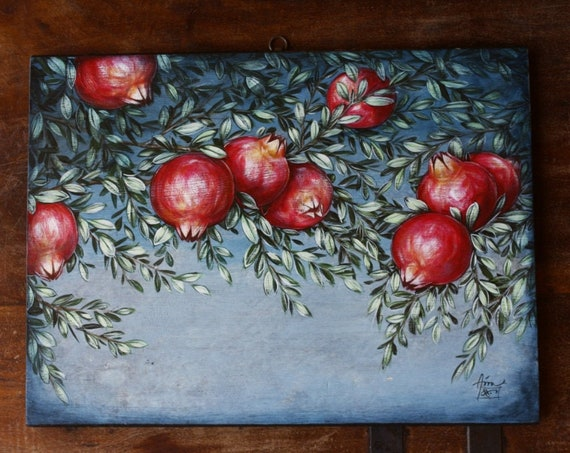 Handmade Wooden Pomegranates Painting