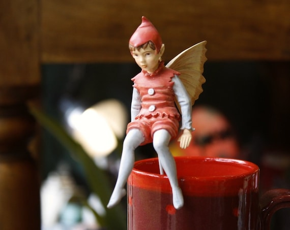 Beautiful Little Red Flower Fairy Figurine