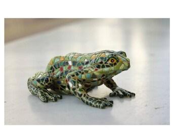 Mosaic Frog, Mosaic Style, Handmade Frog, Frog Collectors, Mosaic Art, Mosaic Animals, Green Frog, Frog Miniature, Figurine, Decoration