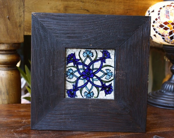 Vintage Syrian Hanpainted Tile, Good Luck Charm, Oriental Art, Boho Home Decoration, Flowers Tile, Wooden Frame, Arabic Art Patern