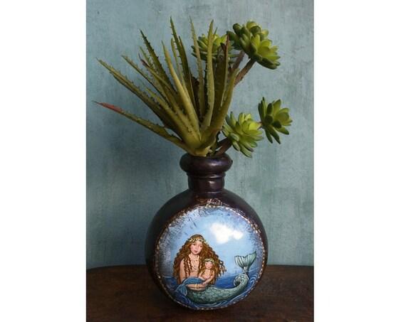 Metal Mermaid Vase