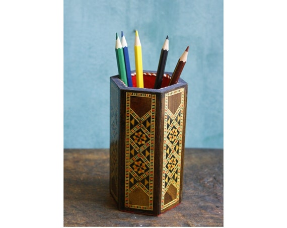 Marquetry Syrian Pen Holder