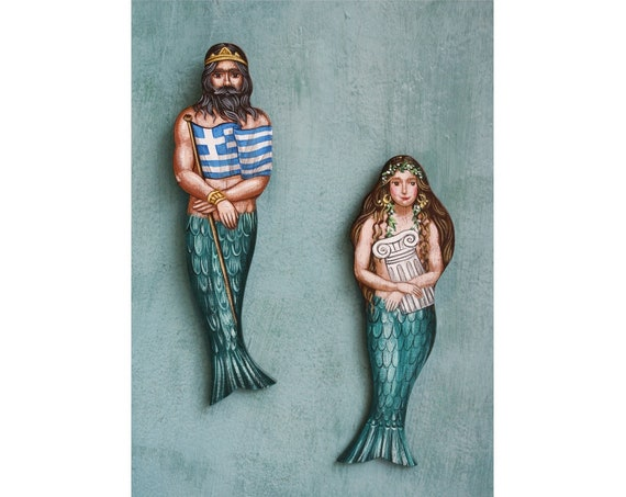 Set Of Greek Mermaids Couple