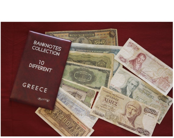 Lot of 10 Different Greek Paper money, Set of Ten Banknotes Collection, Drachmas, Coin Collector, With the Album