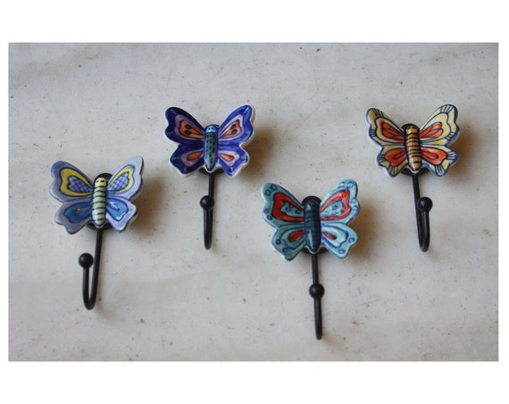 Set Of Four Porcelain Butterfly Wall hangers