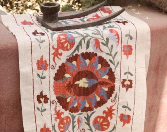 Vintage Uzbekistan Cotton  Embroidered Suzani