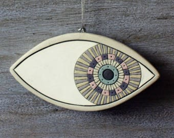 Handmade ceramic evil eye, pottery evil eye, eye, mati, ceramic, good luck gift, handmade gift, talisman, handpainted ceramic eye, Greek