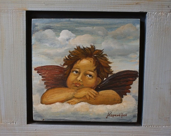 Hand Painted Angel Wooden Sign