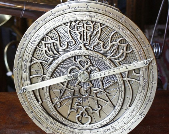 Planishperic Astrolabe,Antique Collectible, Navy instruments, Vintage, Memorabilia, Navigator, Bronze art, Home decor. Navigation device