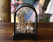 Curved Vintage Cork Diorama , Japanese Cork Landscape, Oriental Folk Art, Japan Art, Pagoda ,Japanese Diorama, Oriental Home Decoration