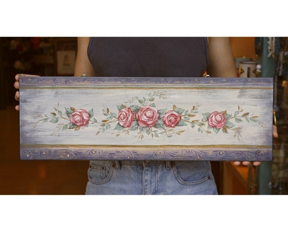 Hand painted Wooden Painting of Roses