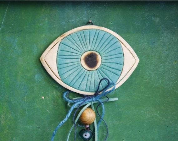 Handmade ceramic evil eye