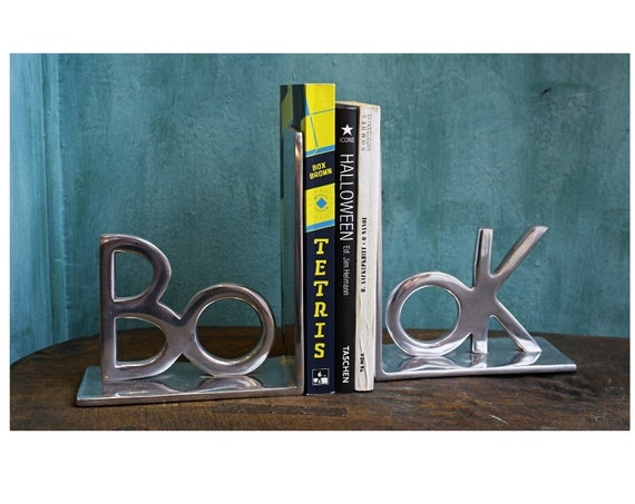 A Set Of Aluminium  Bookends