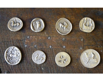 Set of Eight 8 Replica Ancient Greek Coins , Ancient Coins Reproduction, Ancient Greece, Greek Mythology, Old Coin,Lucky Coins,Antique Coins