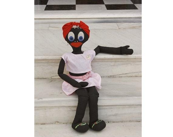 Vintage Girl Fabric Doll