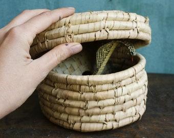 Vintage Wooden Snake in the Basket, Cobra Pop Up, Snake Charmer, Wooden Snake, Jack in the Box, Cobra Basket, Snake Charmer Basket, India,