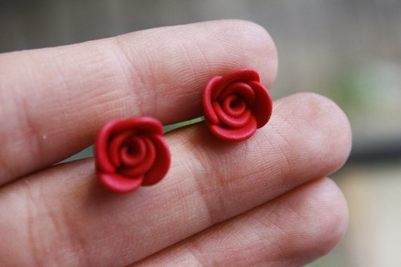 Handmade Red Rose Earrings