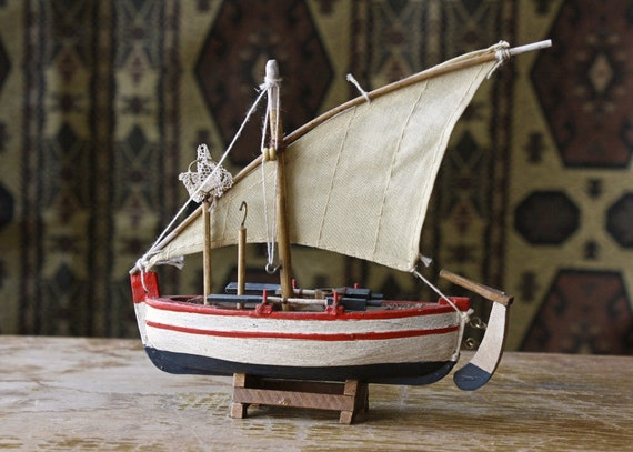 Handmade Wooden Ship, Boat Figurine, Handpainted, Wooden Sloop,Fishing Boat Sculpture, Nautical Decoration, Naval Gift, For Him, For Her