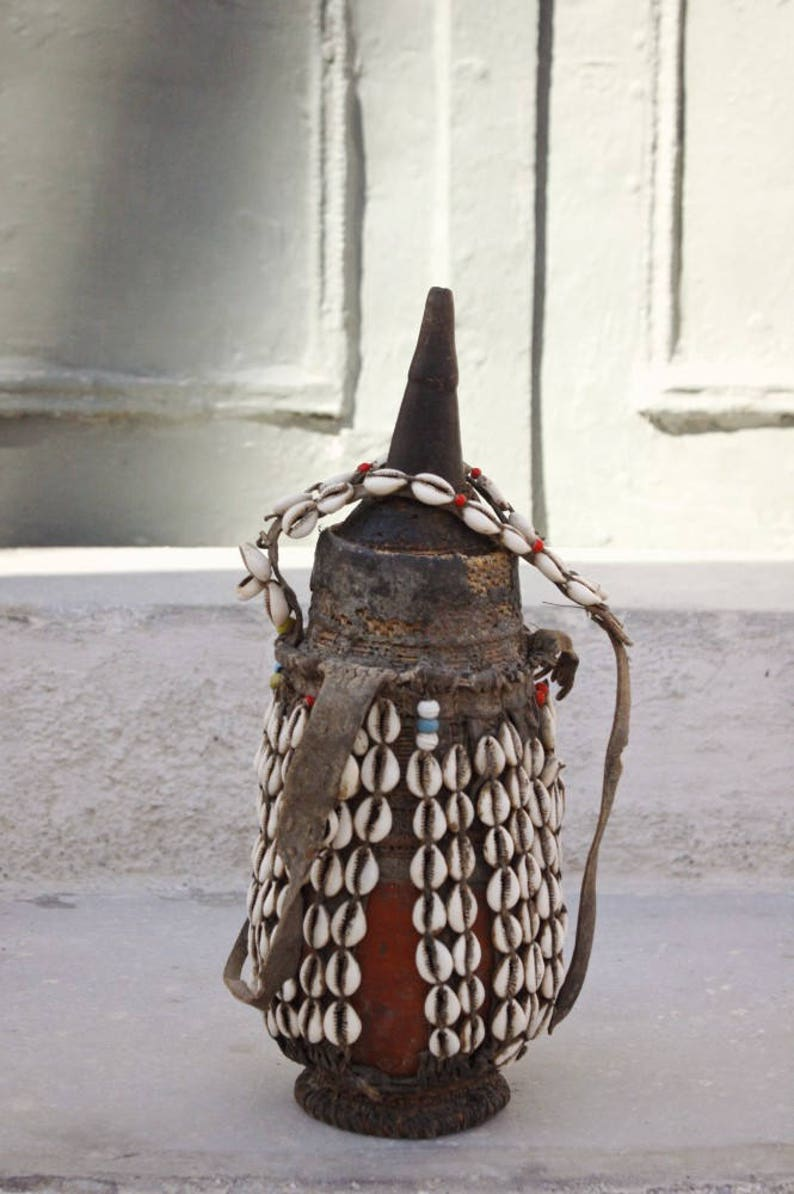 Ethiopian Milk Jug With Cowry Shells African Leather Milk Etsy