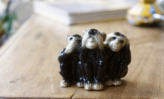Three Wise Monkeys Porcelain Miniature