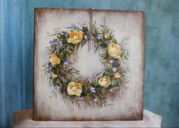 Hand Painted Flower Wreath