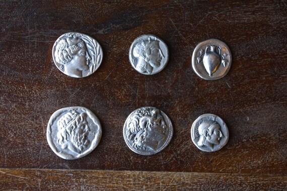 Set of Six 6 Replica Ancient Greek Coins