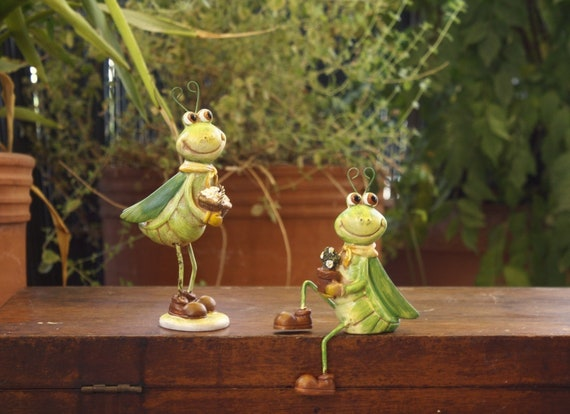 Set of Two Grasshopper Figurines
