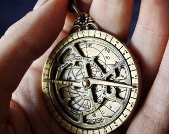 Astrolabe with Mini Stand, Astrolabio, Astronomy, Navigation Instrument, Antique Style, Vintage, Miniature,Nautical device,Stars Observation