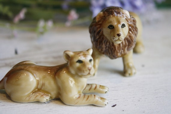 Lion and Lioness Miniature, Set Of Two