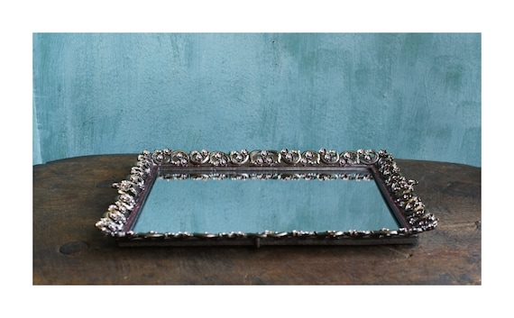 Rhinestone Oval Mirror Tray