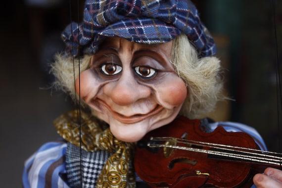 Handmade Violinist Figurine Marionette