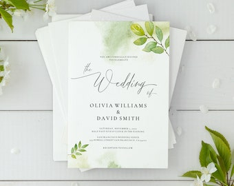 watercolor wedding invitation printable etsy