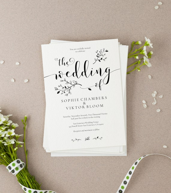 wedding invitation template sophie floral kraft rustic etsy