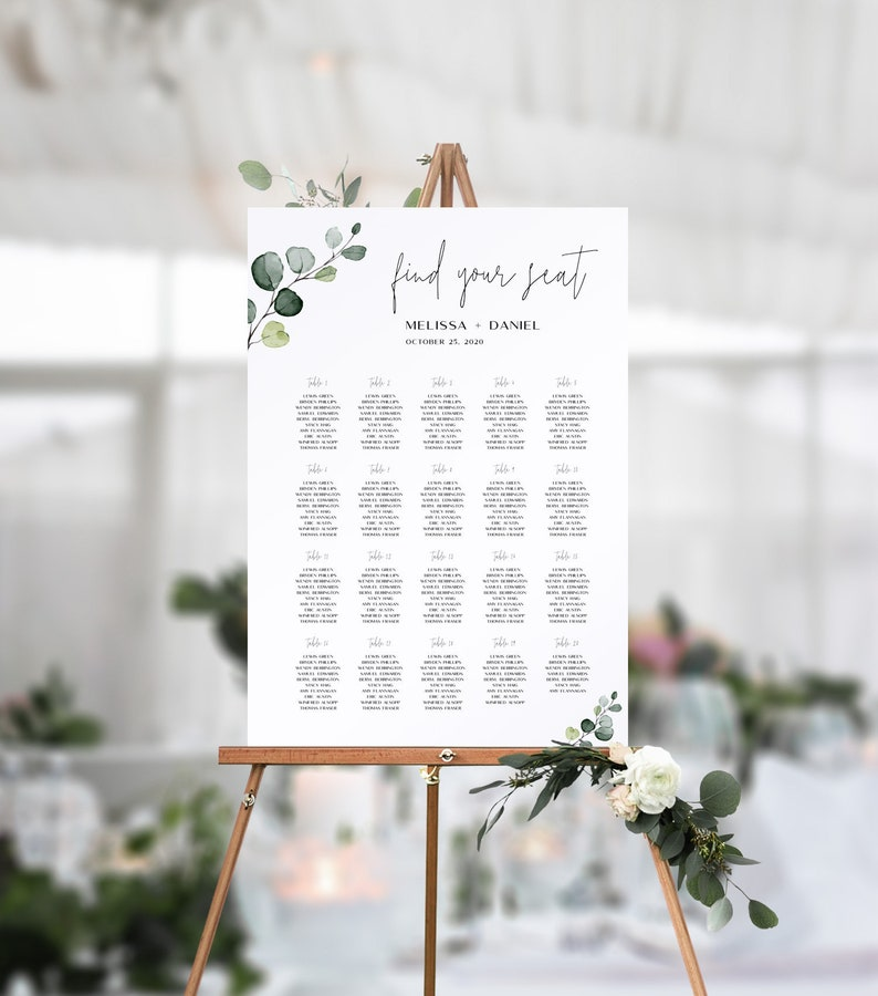 Wedding Guest Seating Chart Template with Hand-Painted Watercolor Eucalyptus