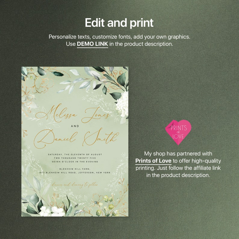Editable Templates AB24/_02/_000 Wedding Invitation Bundle with Watercolor Lush Greenery and Gold Details Card Envelope Liner Reply Card