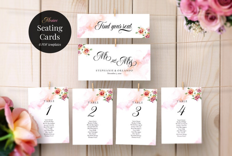 Seating Chart Template Monroe Table Card Rose Floral Red Roses
