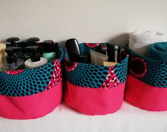 Set of 3 baskets in canvas and wax / Deco design