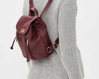 d2594113e9f9 Women vegan eco-leather eco friendly casual multi-purpose handmade small  backpack   MINI ROCK COLLECTION  burgundy