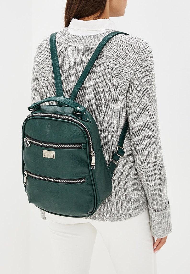 Women vegan eco-leather eco friendly casual multi-purpose handmade city backpack ANJ COLLECTION dark green