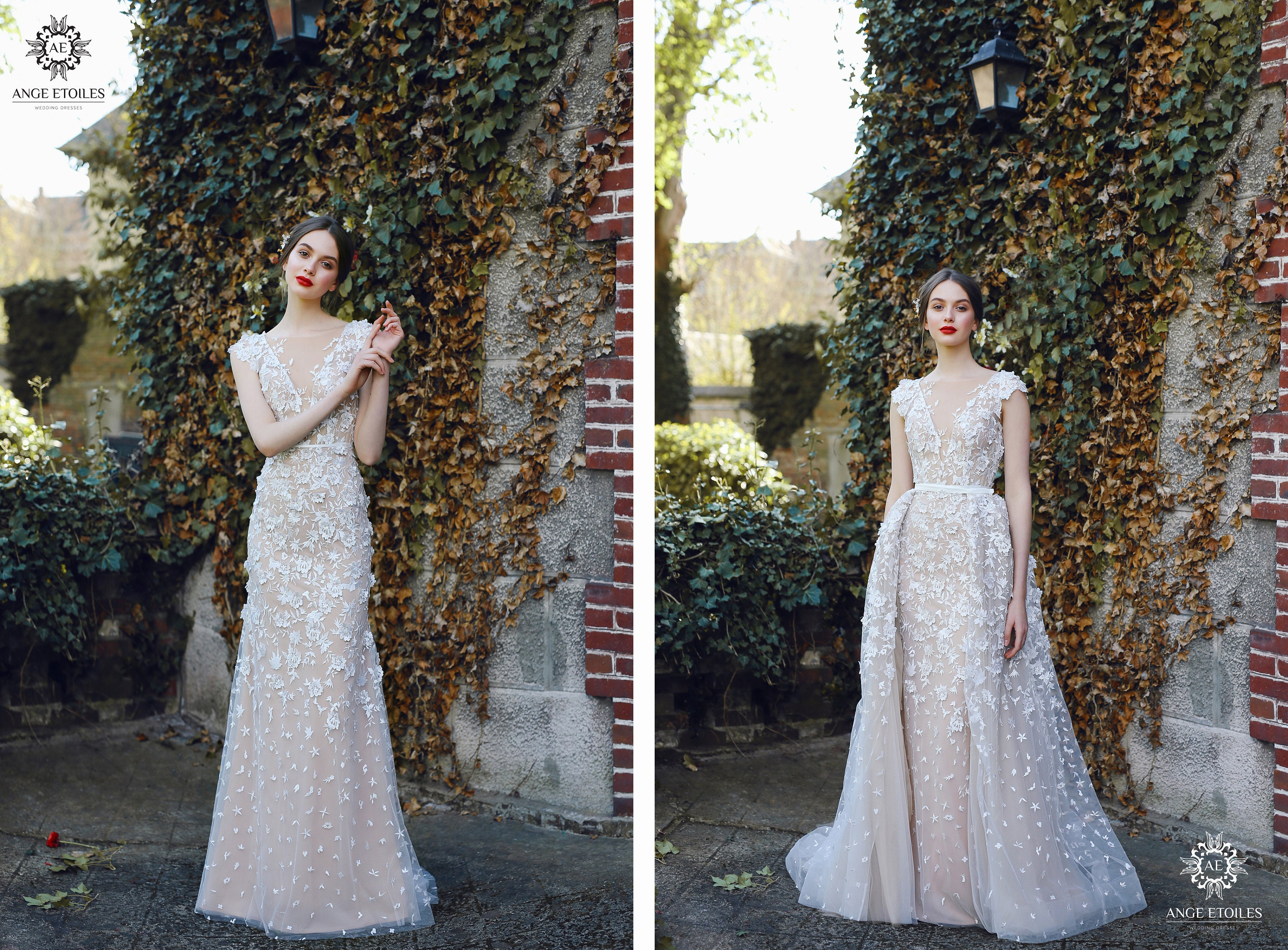 Multi Way Wedding Dress Velari With Long Train By Ange Etoiles Etsy