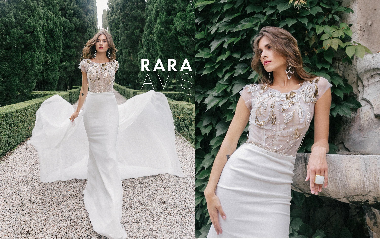 Wedding Dress Naris With Long Train By Rara Avis Wedding Etsy