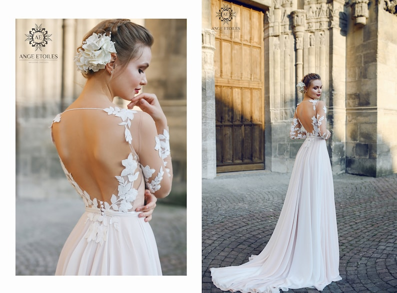 895b678311d A-line backless wedding dress FILISI with long train by Ange