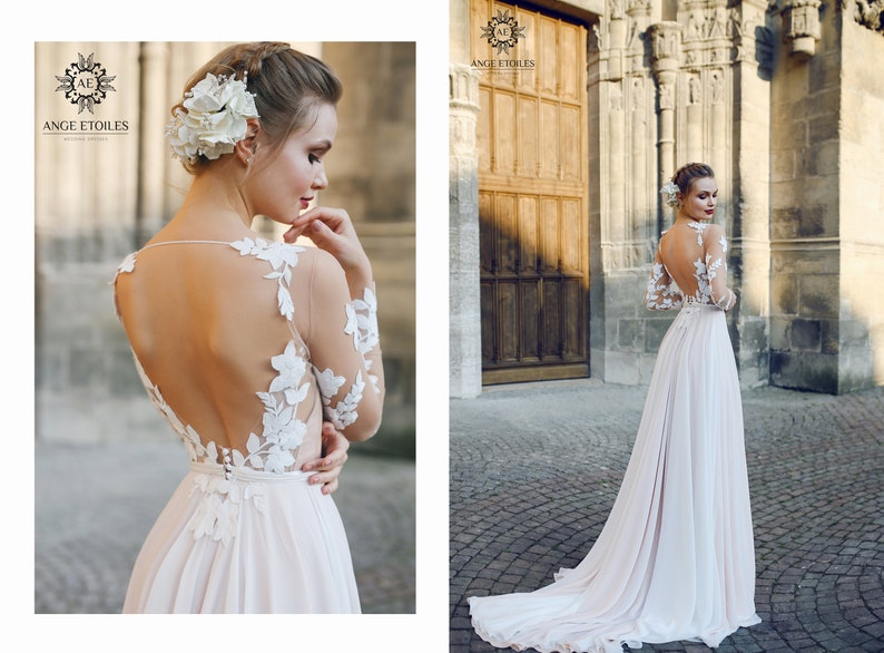 Backless Wedding Dresses.A Line Backless Wedding Dress Filisi With Long Train By Ange Etoiles Backless Wedding Dress Luxury Wedding Dress