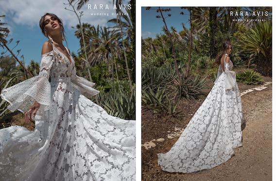 Boho Wedding Dress Aliet With Long Train Wedding Dress With Long Train